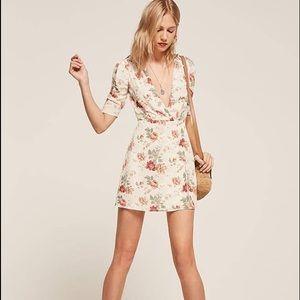 Reformation Lorena Dress. Floral. Ivory. Size XS